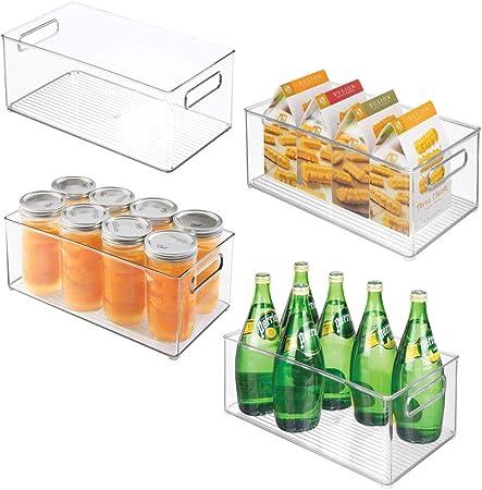 mDesign Deep Plastic Kitchen Storage Organizer Container Bins