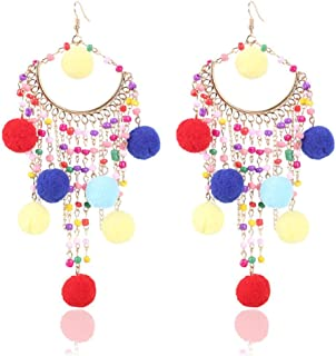 Women's EarringsNovelty EarringsSweet fringed colored hair ball earrings