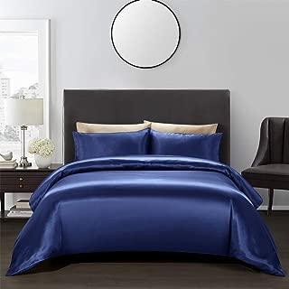 AiMay 3 Piece Duvet Cover Set (1 Duvet Cover + 2 Pillow Shams) Satin Silk Luxury 100% Super Soft Microfiber Bedding Collection (Queen, Royal Blue)