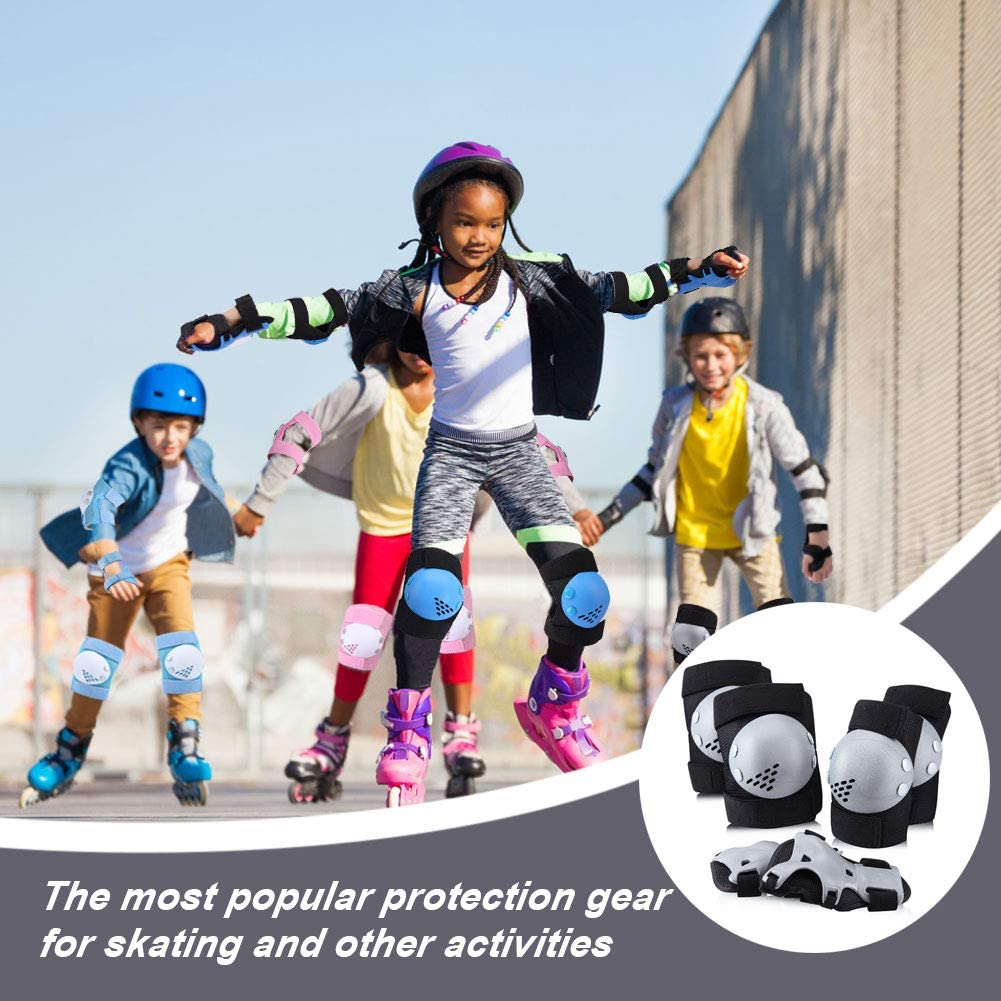 ArgoHome Kids Protective Gear Set Knee Pads Elbow Pads Wrist Guards for Kids Youth Child 3-14 Years for Roller Skates Cycling BMX Bike Skateboard Inline Skatings Scooter Riding Sports