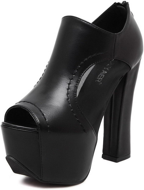 AmoonyFashion Women's PU Solid Zipper Peep-Toe High-Heels Sandals