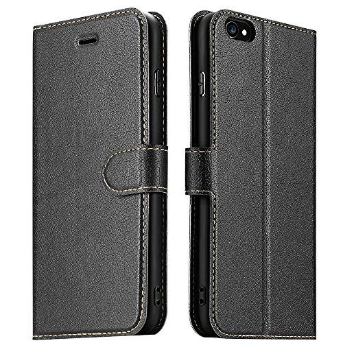 ELESNOW Coque pour iPhone 6 Plus/iPhone 6S Plus, Premium Portefeuille Étui Housse en Cuir Compatible avec Apple iPhone 6 Plus / 6S Plus (Noir)