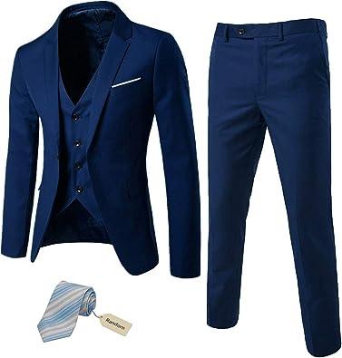 MY'S Men's 3 Piece Slim Fit Suit Set, One Button Solid Jacket Vest Pants with Tie