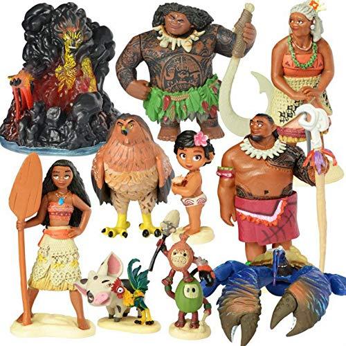 10 Unids/Set Cartoon Moana Princess Legend Vaiana Maui Chief Tui Tala Heihei Pua Figura De Acción Decoración Juguetes
