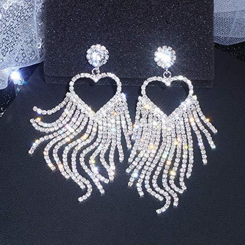 Erin Mujer Clásica Romántica Gran Corazón Cristal Pendientes Largos De Borla Color Plateado Nupcial Colgante Pendientes Pendientes Joyería De La Boda Regalo