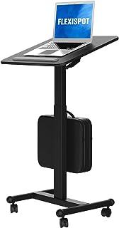 Flexispot MT3 Mobile Standing Desk Sit-Stand Pneumatic Adjustable Height Laptop Desk Gas Spring Riser Rolling Computer Car...