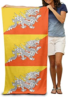 Large Beach Towels Bath Sheets Bhutan Flag National Beach Towels Novelty Soft Eco-Friendly Printing Design Travel,Non-Toxic 31.5x51.2 Inch(80x130cm)