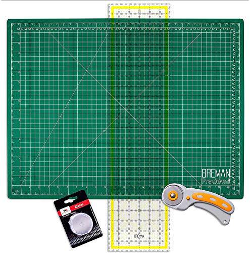 WA Portman Rotary Cutter Set - Rotary Fabric Cutter with 5 Extra Cutter Blades - 18x24 in Self Healing Cutting Mat - 6x24 in Quilting Ruler Rotary Cutter and Mat - Ideal Craft and Quilting Supplies