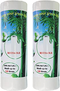 Benail Washable Bamboo Paper Towels Reuseable & Machine Washable Rayon Made from Bamboo Paper Towel 2 Roll-40 Sheet