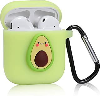 Logee Small Avocado Case for Airpods 1&2,Cute Character Silicone 3D Funny Cartoon Airpod Cover,Soft Kawaii Fun Cool Fruit Skin Kits with Carabiner,Unique Cases for Girls Kids Teens Women Air pods