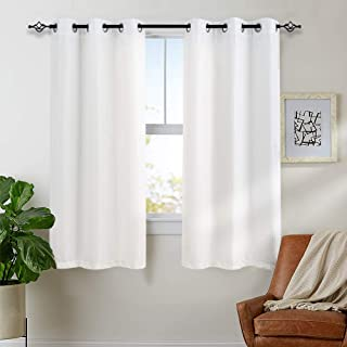 jinchan White Curtains for Bedroom Living Room Grommet Window Drapes Waffle-Weave Textured Curtain Panels for Living Room 63 inch Length 2 Panels