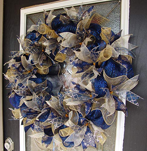 FAST SHIP XL Dark Navy Blue and Gold Hanukkah or Christmas Deco Mesh Front Door Wreath, Porch Patio Garden, Wall Mantel Fireplace, Unique Gift Idea