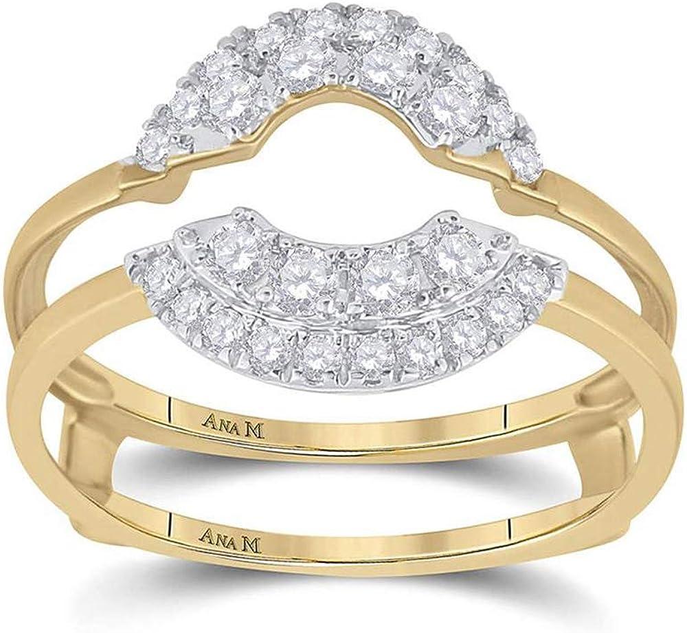 14kt Yellow Gold Womens Round Diamond Wedding Wrap Ring Guard Enhancer 1/2 Cttw