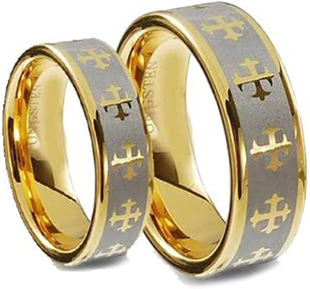 Men & Ladie's 8MM/5MM Tungsten Carbide Gold Plated Wedding Band Ring Set w/Laser Etched Celtic Cross (Size: 5&7)