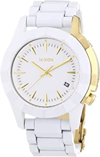 Nixon All Monarch Women's Quartz Watch with White Dial Analogue Display and Gold Stainless Steel Plated A 2881035–00