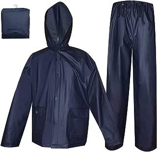 Rain Coat for Women Men Waterproof Jacket with Pants 2Pcs Ultra-Lite Suits EVA Reusable Portable Packable (XX-Large, Navy)