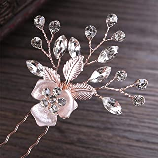 LUKEEXIN Wedding Hairpin Wedding Banquet Hair Accessories Bridal Jewelry Tiara Hair Fork 2pcs (Color : Pink)