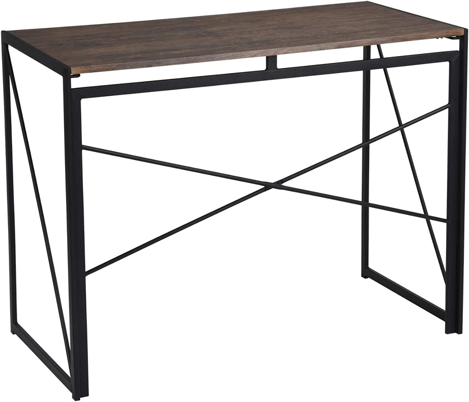 Homy Casa Computer Folding Desk Writing Table Workstation Compartments Shelves with Metal Legs (Black)