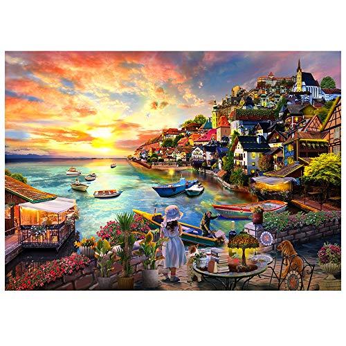 HUADADA Puzzle 1000 Teile,Puzzle für Erwachsene, Impossible Puzzle,Puzzle farbenfrohes Legespiel ,Geschicklichkeitsspiel für die ganze Familie,Erwachsenenpuzzle ,Mädchen am Meer