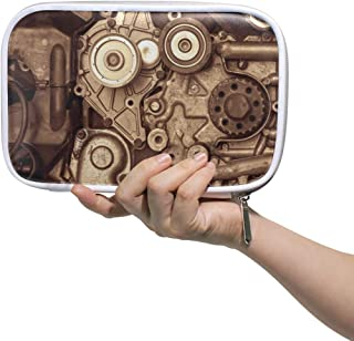 Pencil Case Leather Cosmetic Bag Retro Steampunk Heavy Metal Organizer Large Capacity for Travel School