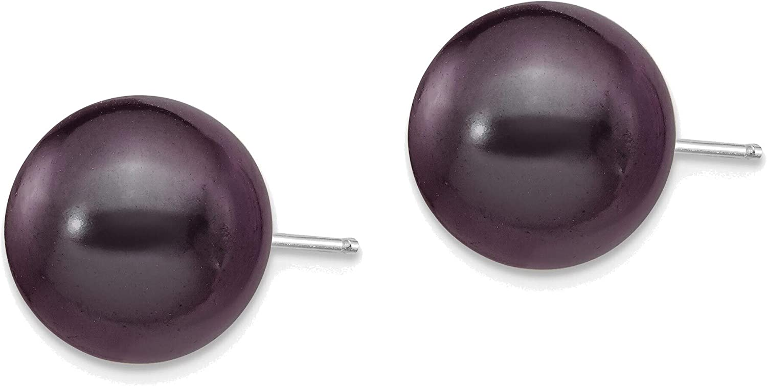 14kt White Gold 10-11mm Black Round Freshwater Cultured Pearl Stud Post Earrings