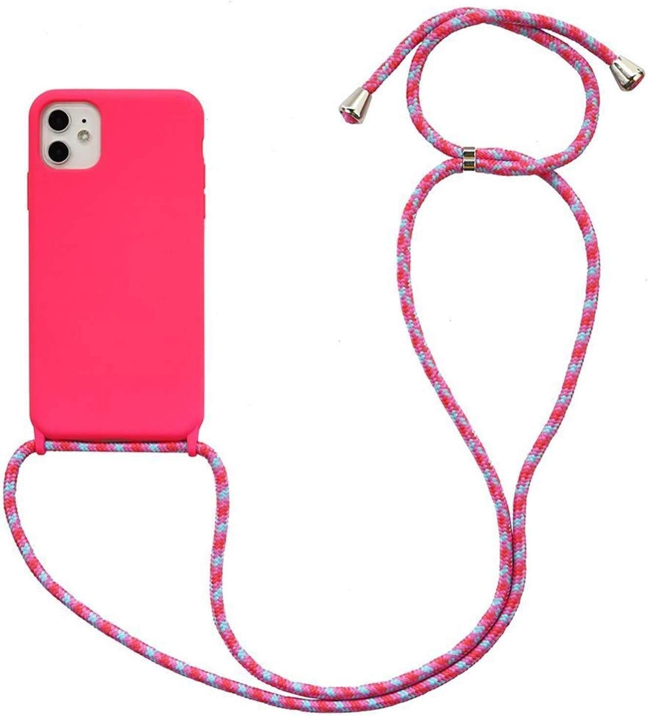 Youpin Crossbody Necklace Holder Phone Case for iPhone 11 pro XS max Xr 6s 7 8 Plus Lanyard Silicone Case Cover with Cord Strap Rope (Color : Bright Pink02, Material : for 12 pro max)