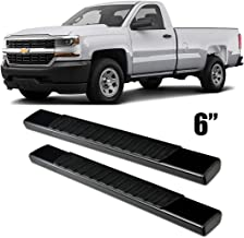 Gevog 6 inches Black Running Board for 99-18 Silverado Sierra Standard Cab (Regular Cab, with 2 Full Size Front Door Only) Side Step Nerf Bars Pair