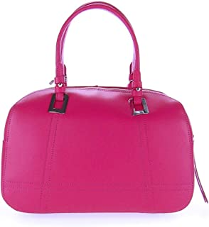 Italian Made Fuchsia Calf Leather Structured Designer Ladylike Bowling Tote Bag