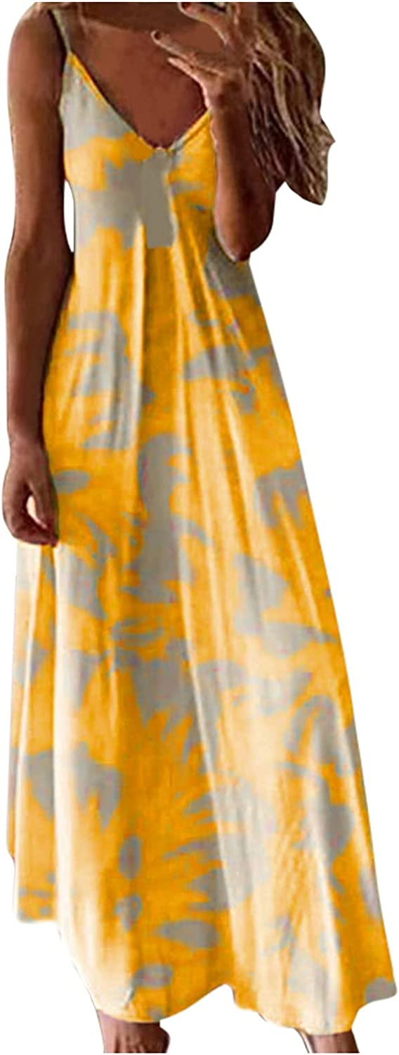 Gyouanime A surprise price is realized Maxi Dresses Oklahoma City Mall for Women Summer tie Strap Spaghetti dye