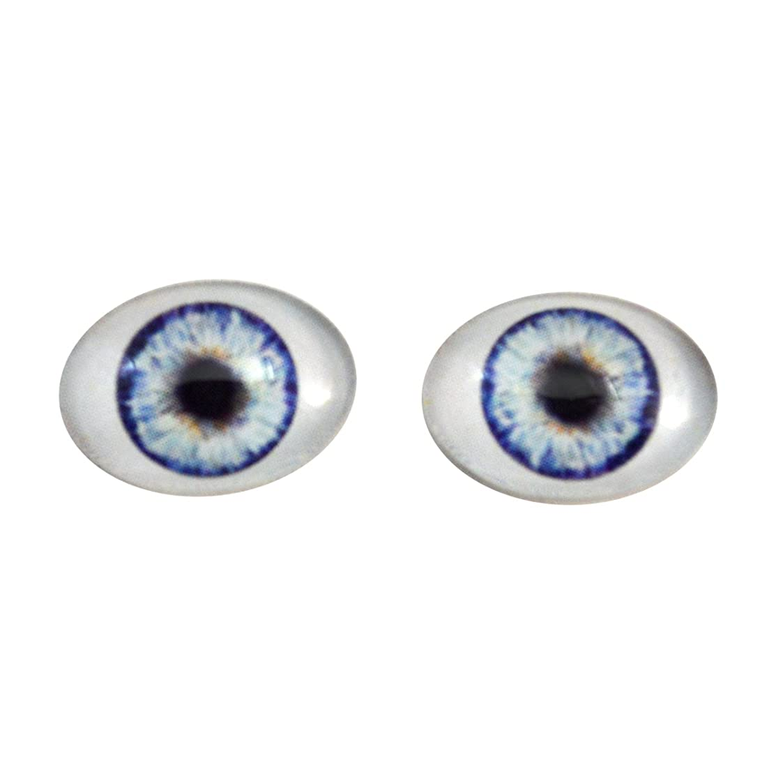 Blue Doll Oval Glass Eyes Fantasy Taxidermy Art Doll Making or Jewelry Crafts Set of 2 (18mm x 25mm)