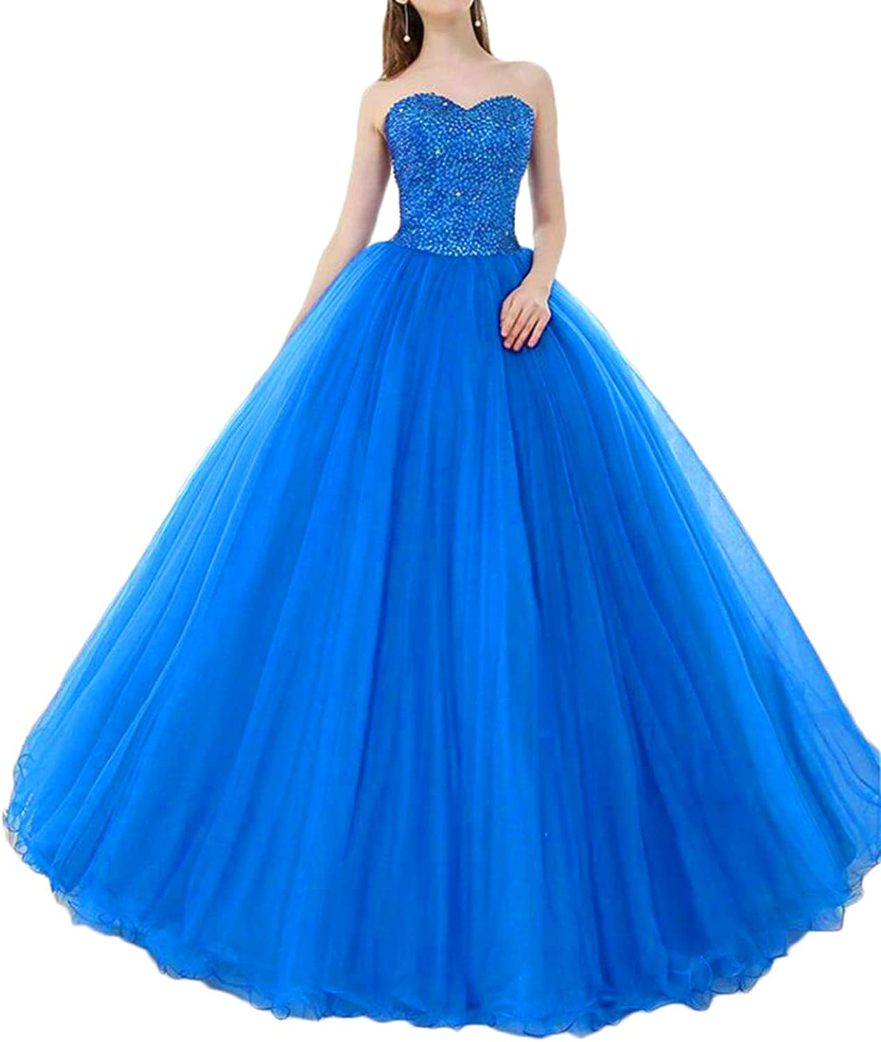 Alilith.Z Sexy Sweetheart Princess Prom Dresses 2019 Beaded Sequins Quinceanera Dresses Ball Gown Evening Gowns for Girls