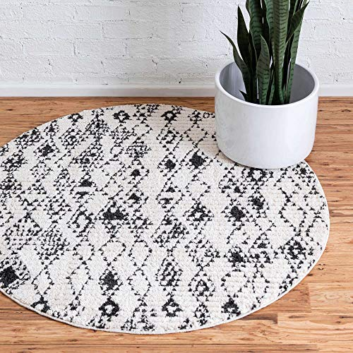 Unique Loom Narenj Collection Classic Traditional Medallion Textured Area Rug, 4 Feet, Ivory/Black