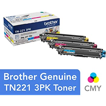 Brother Genuine Standard-Yield Toner Cartridge Three Pack TN221 3PK -Includes one Cartridge Each of Cyan, Magenta & Yellow Toner, Standard Yield (TN2213PK)