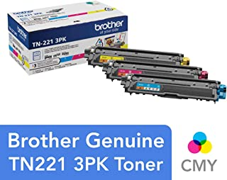 Brother Genuine Standard-Yield Toner Cartridge Three Pack TN221 3PK -Includes one Cartridge Each of Cyan, Magenta & Yellow Toner, Standard Yield (TN2213PK)