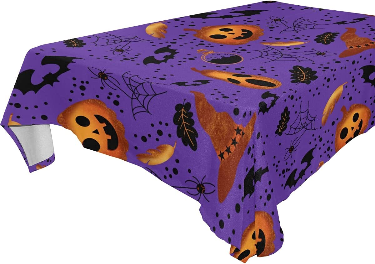Halloween Table Cover Detroit Mall Pumpkin Bats Max 57% OFF 60 Tablecloth Rectangle Ghost