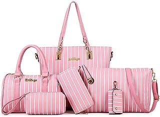 6-piece Striped Ladies Handbag Shoulder Bag PLeather Business Work Travel (Color : Pink, Size : L)