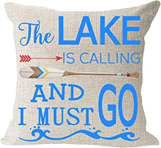 The Lake is Calling and I Must Go Wave Boat Paddle Cotton Linen Square Throw Waist Pillow Case Decorative Cushion Cover Pillowcase Sofa 18X18 inches