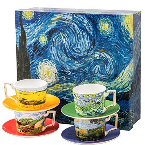 Van Gogh Tea Set, Set of 4 Glasses with Beautifully Painted Van Gogh Art,