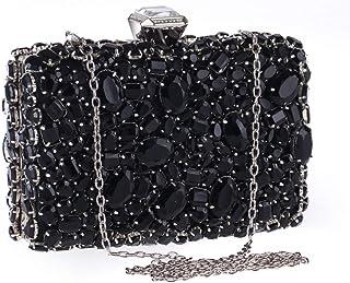 FengheYQ Women's Hand Crafted Evening Dress Rhinestone Crystal New Wild Banquet Wedding Bridesmaid Handbag Chain Shoulder Clutch Bag Size: 19 * 6.5 * 14.5cm (Color : Black)