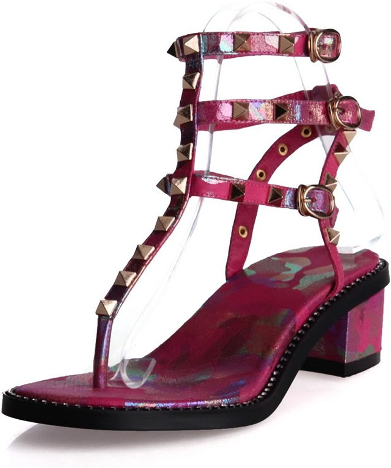 1TO9 Ladies Chunky Heels Studded Rivet Buckle Pink Cow Leather Sandals - 7.5 B(M) US