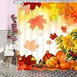 Herbst Duschvorhang, Ahorn Blätter Duschvorhänge Mit Haken, Orange Stoff Sonnenblume Kürbis Bad Duschvorhang 90x180cm