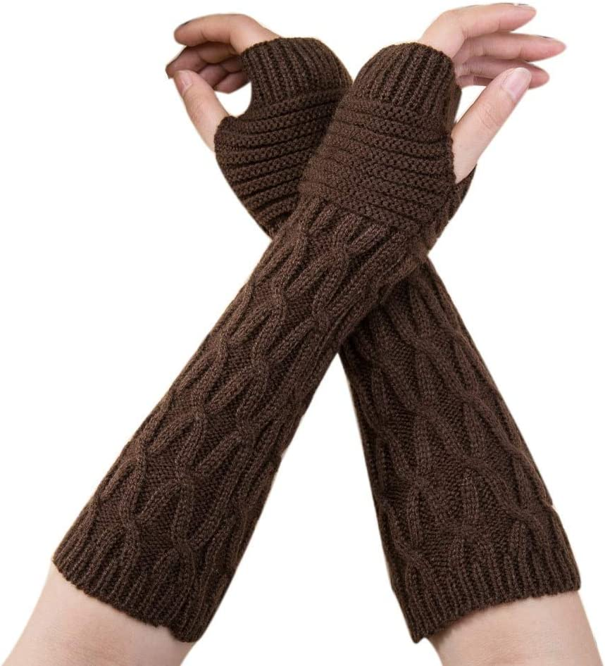 Winter Gloves Women Autumn Warmer Fashion 1PC Ladies Knitted Long Half Finger Mitten Fingerless PSEPO4 - (Color: A)