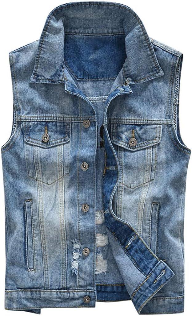 MODOQO Men's Jacket Vest Jeans Casual Sleeveless Slim Fit Lapel Blue Lightweight Denim Outwear