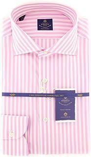 Luigi Borrelli チェック柄 ボタンダウン カッタウェイカラー コットン スリムフィット ドレスシャツ