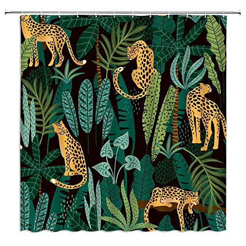 Leopard Duschvorhang, asiatische Wildtiere, Tiere, Leopard, Tiger, grün, Topical Palmblatt, moderne Badezimmer-Dekoration, Vorhang, 177,8 cm mit Haken