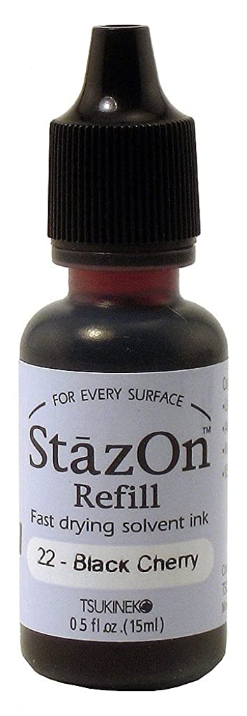 Tsukineko 1/2 Fluid Ounce StazOn Multi-Surface Inker, Black Cherry