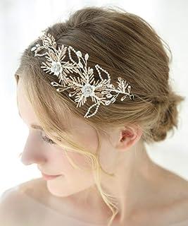FXmimior - Tiara fatta a mano per capelli da sposa, in argento scintillante, con strass, accessorio per capelli da sera