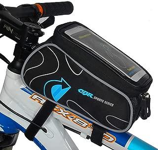 Diniiko Bike Frame Top Tube Bag, Bicycle Strap Front Storage Mountain Road Cycling Zipper Waterproof Top Crossbar Bike Pannier Pouch Phone Mount Under 6.0