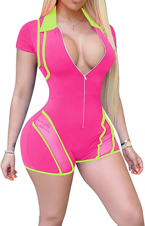 Women'S V Neck Tummy Control Zipper Bodysuit Leotard Jumpsuit Shpewear