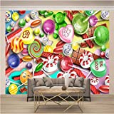 Papel Pintado fotográfico 3D Caramelo de color navideño Fotomurales Tejido No Tejido Murales Moderna Diseño Póster Salón Dormitorio TV Telón de Fondo Pared Hogar Decoración 150x100 Cm